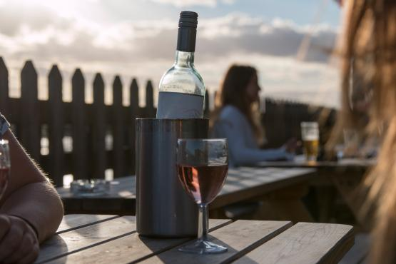 Wine in the sunset at the Crown And Anchor Shoreham